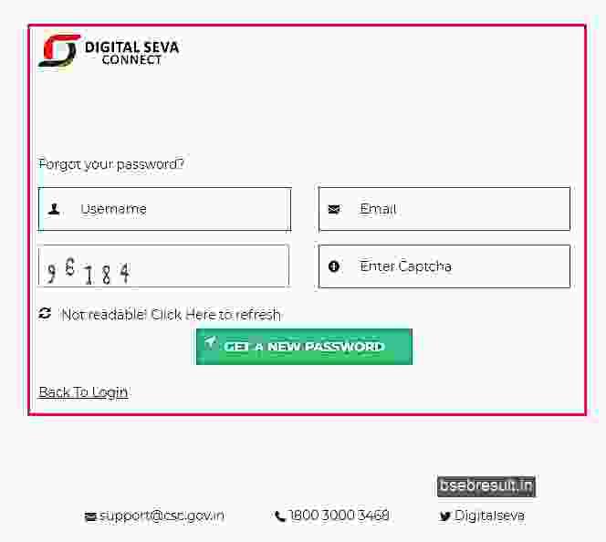 Digital Seva Connect Password Reset