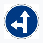 Turn Left or Straight Ahead Sign