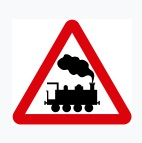 Unguarded Level Crossing Ahead Sign